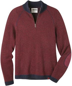 Mountain Khakis Men's Malbec Fleck Quarter Zip Sweater  , Burgundy, hi-res