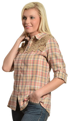 Red Ranch Women's Crochet Tan Plaid Flannel Shirt, , hi-res