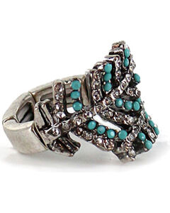 Shyanne Women's Overlapping Crystal Feather Ring, , hi-res