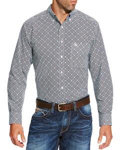 Ariat Men's Grey Slater Geo Print Long Sleeve Western Shirt , Navy, hi-res