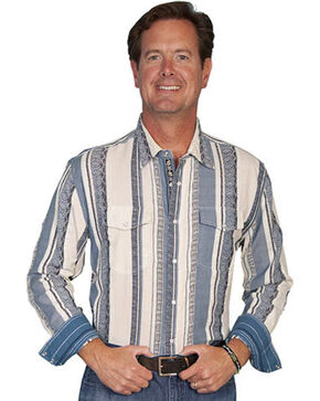 Scully Signature Series Striped Western Shirt, Blue, hi-res