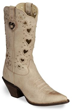 Durango Crush Taupe Heart Cut-out Cowgirl Boots - Pointed Toe, , hi-res