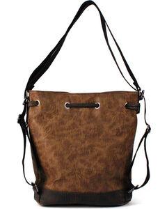 Toby Keith Brown Tooled Drawstring Bucket Bag, , hi-res