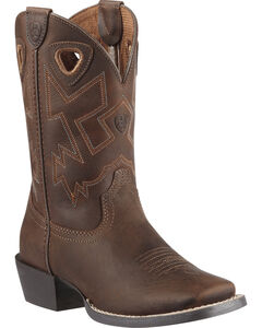 Ariat Boys' Charger Distressed Cowboy Boots - Square Toe, , hi-res