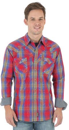 Wrangler Retro Men's Red and Blue Plaid Dobby Western Shirt , , hi-res