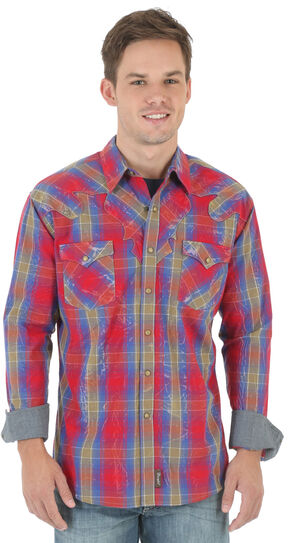 Wrangler Retro Men's Red and Blue Plaid Dobby Western Shirt , Red, hi-res