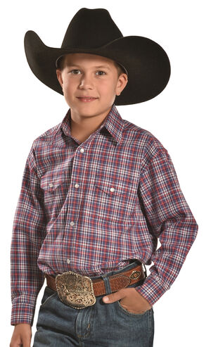 Panhandle Slim Boys' Red Plaid Western Snap Shirt , Multi, hi-res
