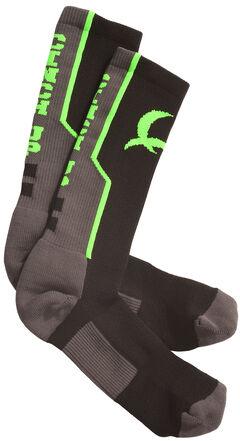 Cinch Men's Grey and Neon Green Boot Socks , , hi-res
