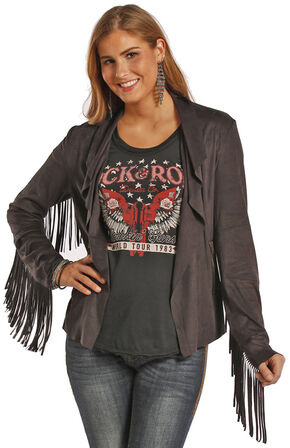 Powder River Outfitters Women's Fringe Short Microsuede Jacket, Black, hi-res