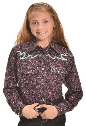 Cowgirl Hardware Girls' Purple Paisley Range Western Snap Shirt , Purple, hi-res