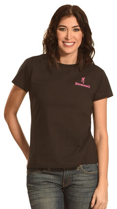 Browning Women's Pink Buckmark T-Shirt, Black, hi-res