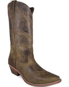Smoky Mountain Women's Crystal Western Boots - Snip Toe , Brown, hi-res