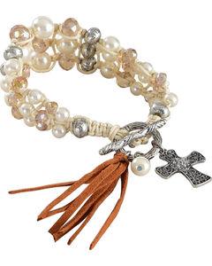 Shyanne Women's Pearl Bead Bracelet , Silver, hi-res