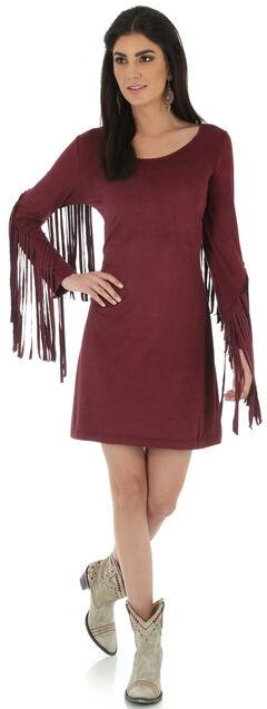 Wrangler Women's Wine Faux Suede Fringe Sleeve Dress, , hi-res