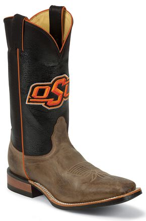 Nocona Men's Oklahoma State University College Cowboy Boots - Square Toe, Tan, hi-res