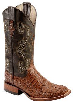 Ferrini Caiman Croc Print Cowboy Boots - Wide Square Toe, , hi-res