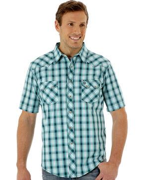 Wrangler Men's Green Short Sleeve Western Jean Shirt, Green, hi-res