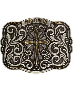 Montana Silversmiths Men's Two-Tone Faith Cross Traditional Attitude Buckle, , hi-res
