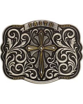 Montana Silversmiths Men's Two-Tone Faith Cross Traditional Attitude Buckle, Antique Silver, hi-res