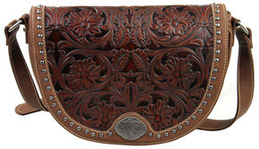 Montana West Trinity Ranch Brown Tooled Design Messenger Bag, Brown, hi-res