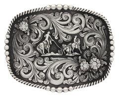 Montana Silversmiths Classic Impressions Triple Flower Team Roping Attitude Belt Buckle, , hi-res