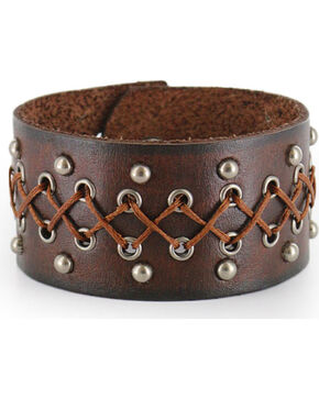 Moonshine Spirit Men's Wide Leather Cuff, Brown, hi-res