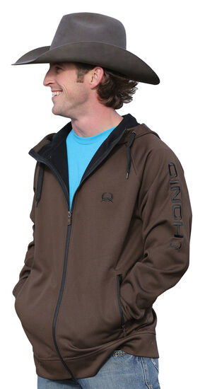 Cinch Men's Zip-Front Hooded Jacket, Brown, hi-res