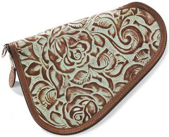 3D Small Floral Tooled Leather Pistol Case, Turquoise, hi-res