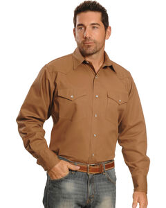Crazy Cowboy Men's Tan Western Work Shirt - Big & Tall, , hi-res