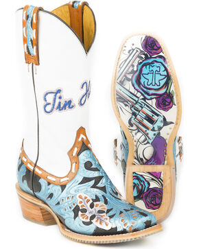 Tin Haul Women's Wild Blue with Guns and Roses Sole Cowgirl Boots - Square Toe, Multi, hi-res