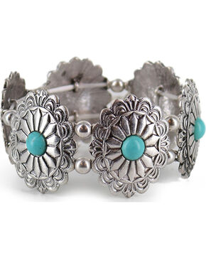 Shyanne Women's Silver and Turquoise Ornate Bracelet, Turquoise, hi-res