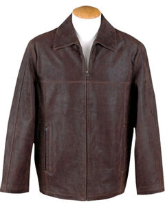 China Leather Men's Brown Distressed Leather Jacket , , hi-res