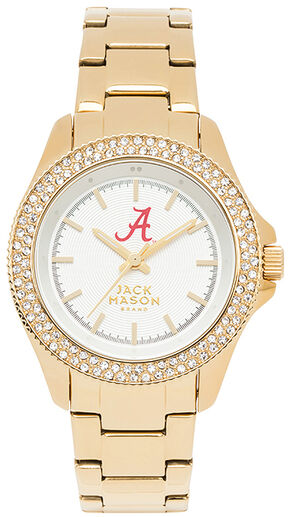 Jack Mason Women's Alabama Gold-Tone Glitz Sport Bracelet Watch , Gold, hi-res