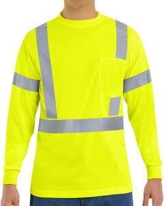 Red Kap Men's Class 2 Hi-Viz Long Sleeve Safety T-Shirt, , hi-res