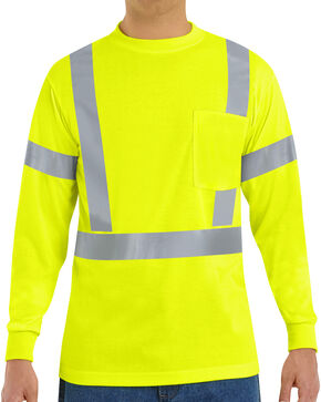 Red Kap Men's Class 2 Hi-Viz Long Sleeve Safety T-Shirt, Multi, hi-res