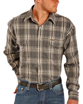 Powder River by Panhandle Men's Long Sleeve Flannel Shirt, Charcoal, hi-res