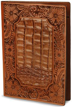 Floral Tooled Leather Portfolio, , hi-res