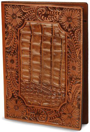 Floral Tooled Leather Portfolio, Tan, hi-res