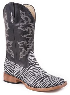 Roper Faux Leather Glitter Zebra Print Cowgirl Boots - Square Toe, , hi-res