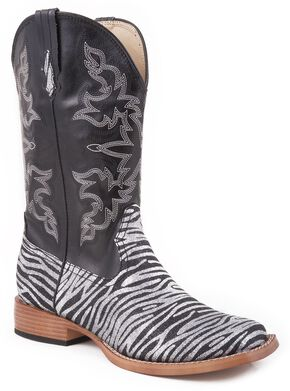 Roper Faux Leather Glitter Zebra Print Cowgirl Boots - Square Toe, Black, hi-res