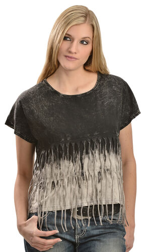 Petrol Feelin' Fringy Short Sleeve Top, Black, hi-res