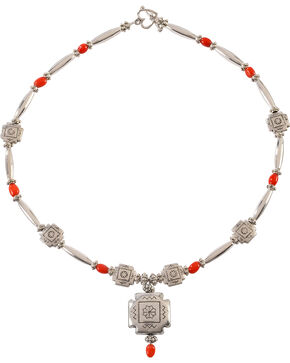 Julie Rose Red Coral and Silver Beaded Necklace, Red, hi-res