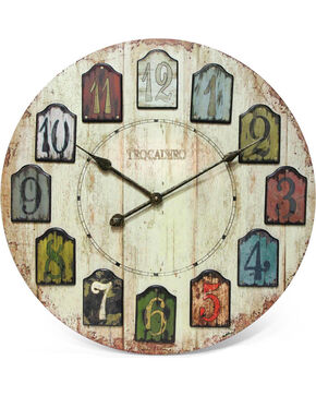 "Infinity Instruments 24"" Weathered Plank Wall Clock, Multi, hi-res"