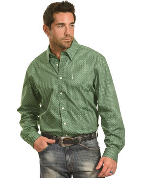 Cinch Men's Green Chain Print One Pocket Long Sleeve Shirt, Green, hi-res