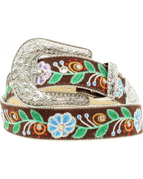Blazin Roxx Floral Embroidered Belt, Multi, hi-res