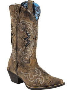 Laredo Women's Lucretia Studded Snake Inlay Cowgirl Boots - Snip Toe, , hi-res
