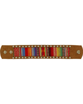 Blazin Roxx Serape Blanket Cuff Bracelet, Brown, hi-res
