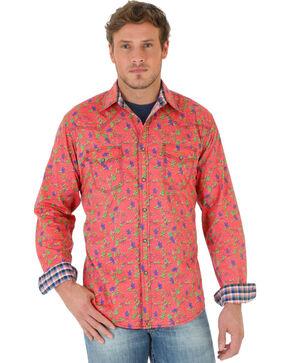 Wrangler Men's 20X Coral Floral Print Poplin Western Shirt , Coral, hi-res