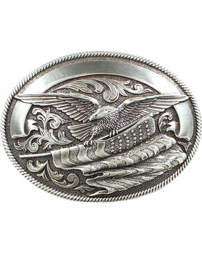 Nocona Bald Eagle & American Flag Buckle, Silver, hi-res