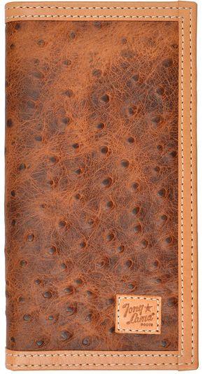 Tony Lama Ostrich Print Rodeo Wallet, Tan, hi-res